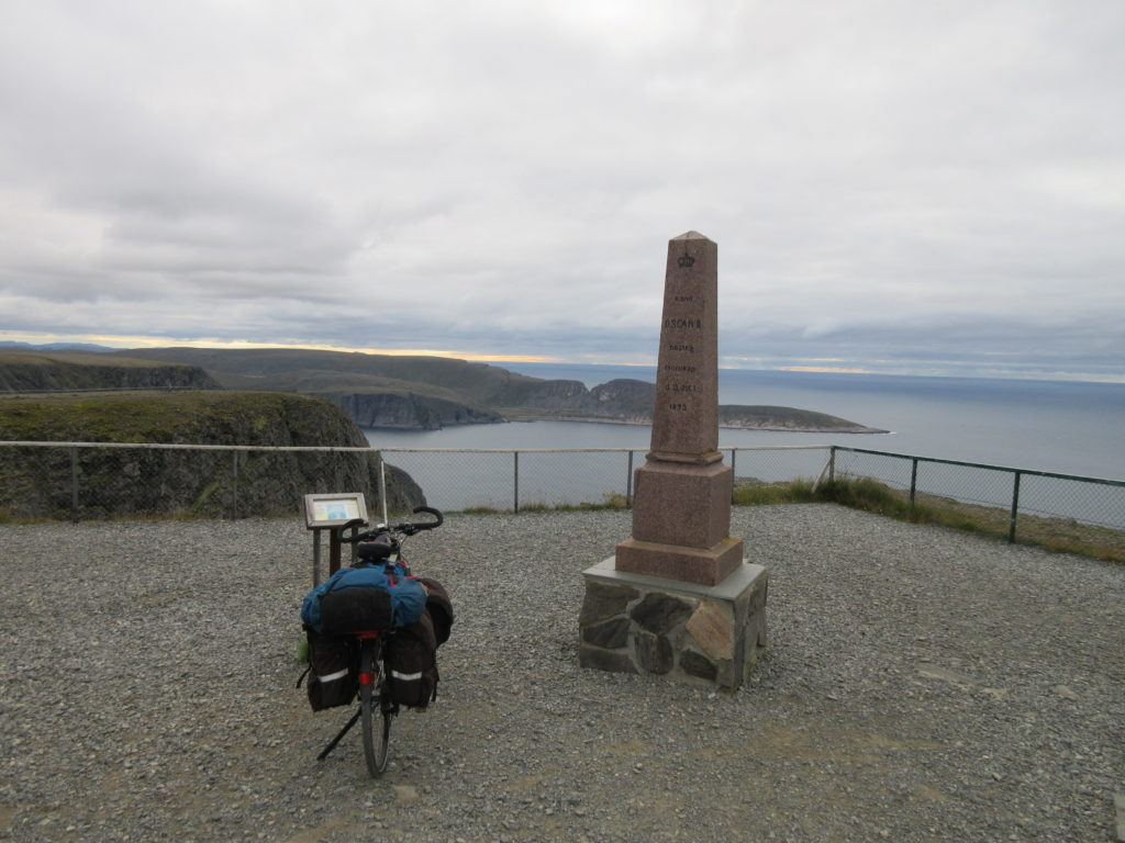 Obelisk to remind the time in the 19th century when the king of Sweden and Norway came to North Cape