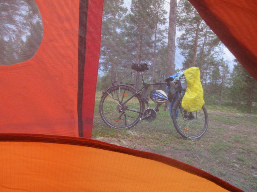 Picture of my bike safely from inside the tent (after killing the mosquitos that slipped in)