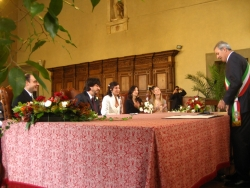 Wedding ceremony at the municipal hall of Pistoia