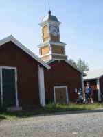The clock house at the fishing museum of Kukkolaforsen
